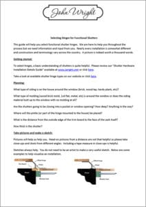 John Wright Shutter Hinge Selection Guide