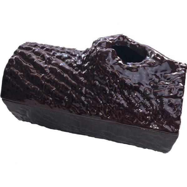 Brown Majolica Log Steamer