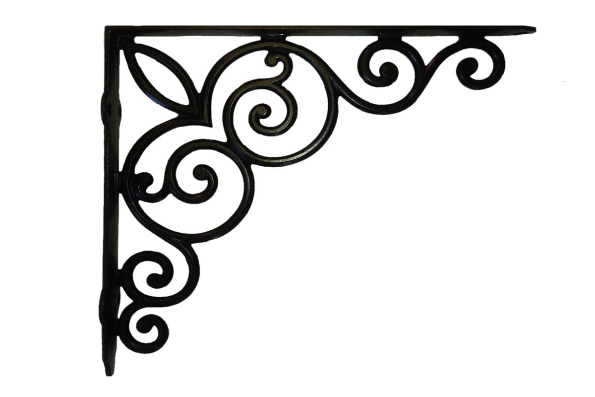 Vintage Scroll Bracket, Black (Sold In Pairs)